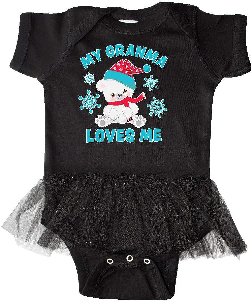 inktastic Polar Bear My Granma Loves Me in Santa Hat with Infant Tutu Bodysuit