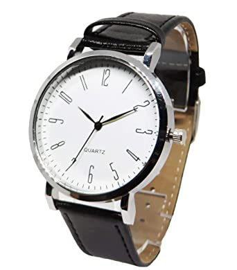 separation shoes 66bda bfab7 カジュアル腕時計 おしゃれ時計 ペアウォッチ レザーベルト ユニセックス デザイン ウォッチ (ブラック×ホワイト)