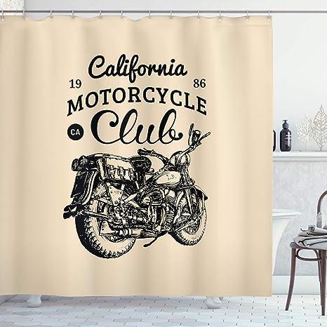ABAKUHAUS Motocicleta Cortina de Baño, Bicicleta Chopper Vendimia ...