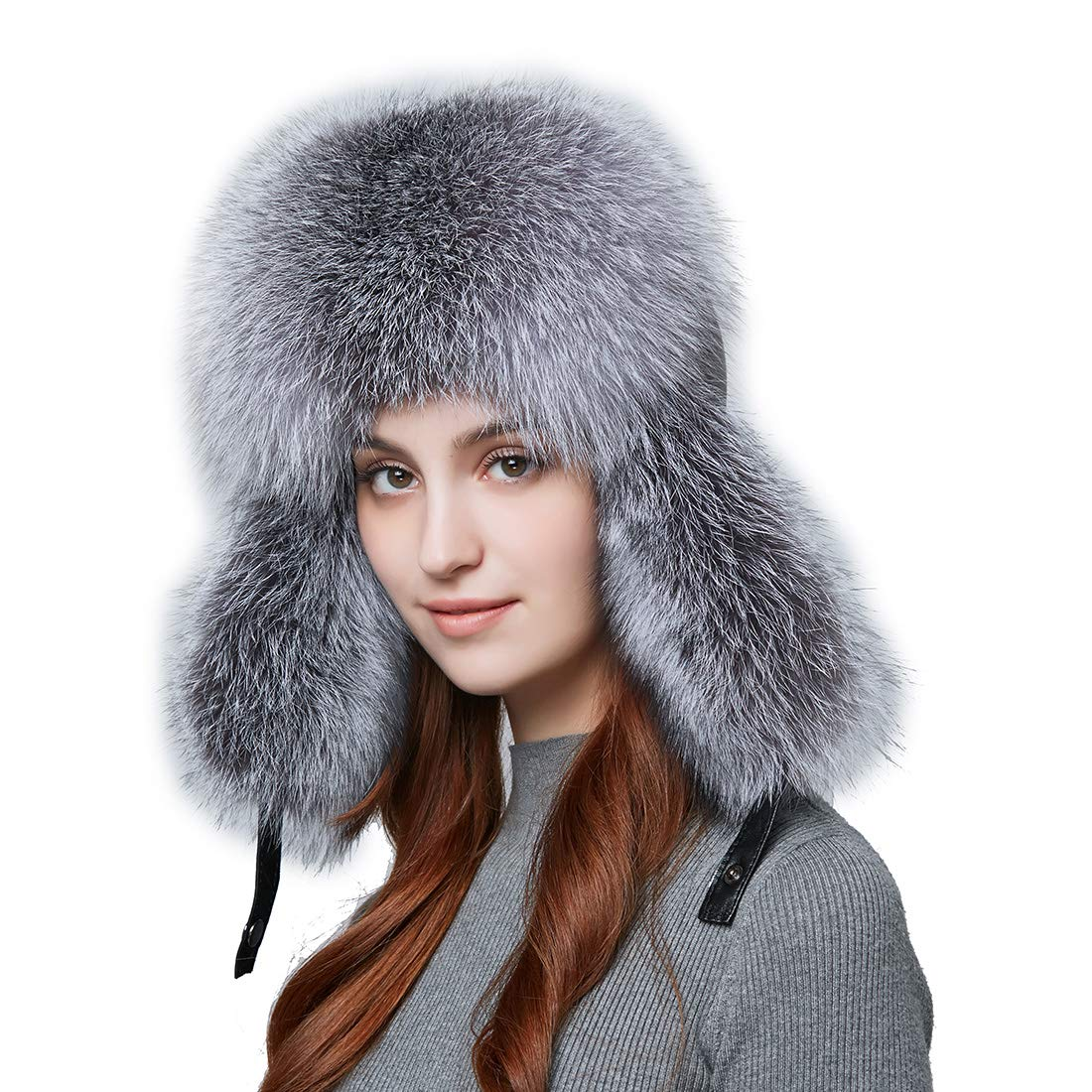 BeFur Fashion Women Winter Warm Fox Fur Lamb Leather Caps Bomber Hat Russian Protection Patchwork Causal Hat Caps