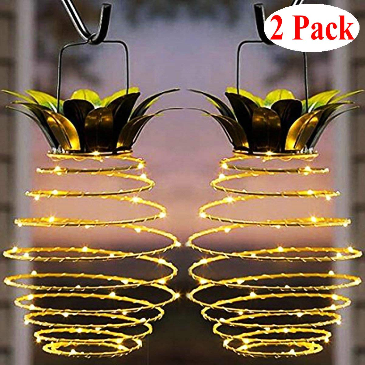 Garden solar lights outdoor decor pineapple solar path lights hanging fairy lights 2 pack waterproof 25 solar led warm fairy string for patio path