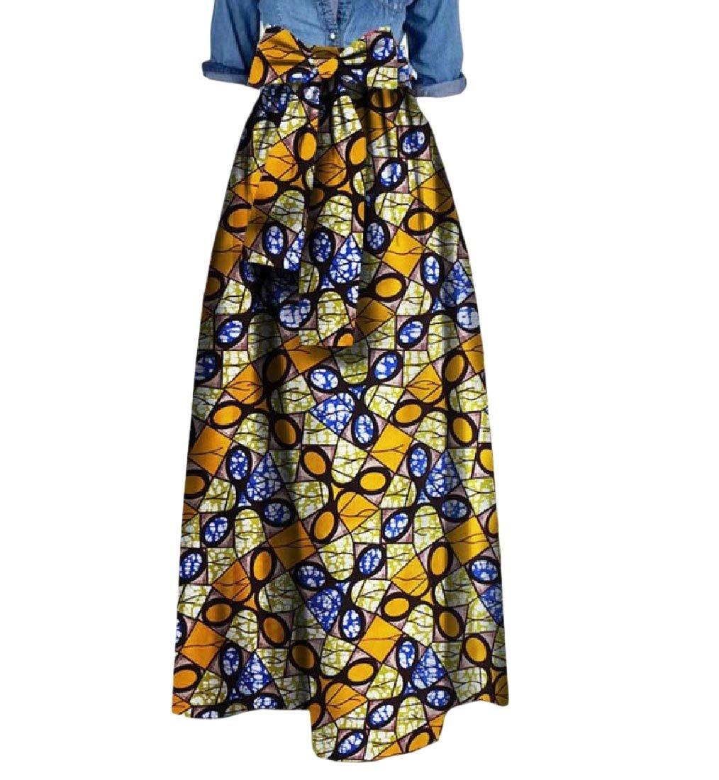 Mfasica Womens Bow African Print Big Pendulum High Waist Cocktail Long Skirt 8 2XL