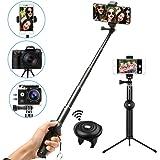 M.Way Selfie Stick Stativ mit Bluetooth Fernbedienung selbstauslöser 360° Rotation, verstellbare Selfie-Stange, Kamera Ständer, Monopod für iPhone, Android,Galaxy Huawei, HTC, Xiaomi, Galaxy, Samsung usw.