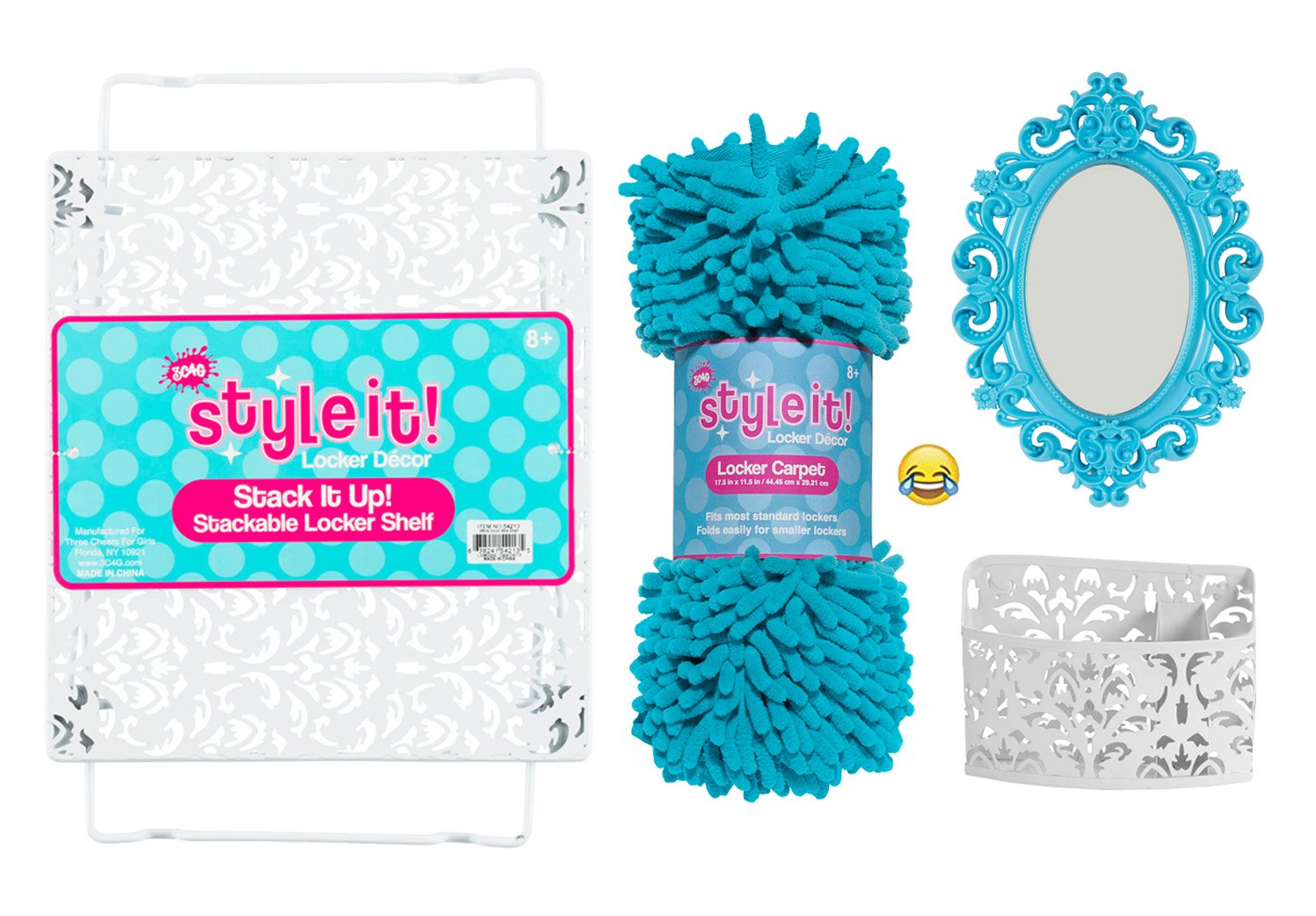 Luxe School Locker Organizer Kit - Accessories and Decoration Set with Shelf, Rug, Mirror and Bin (Aqua)