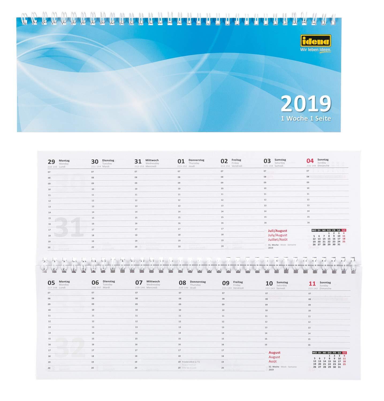 1 Woche // 1 Seite Tischkalender 2019 28,7 x 10 cm quer FSC-Mix Idena 11201