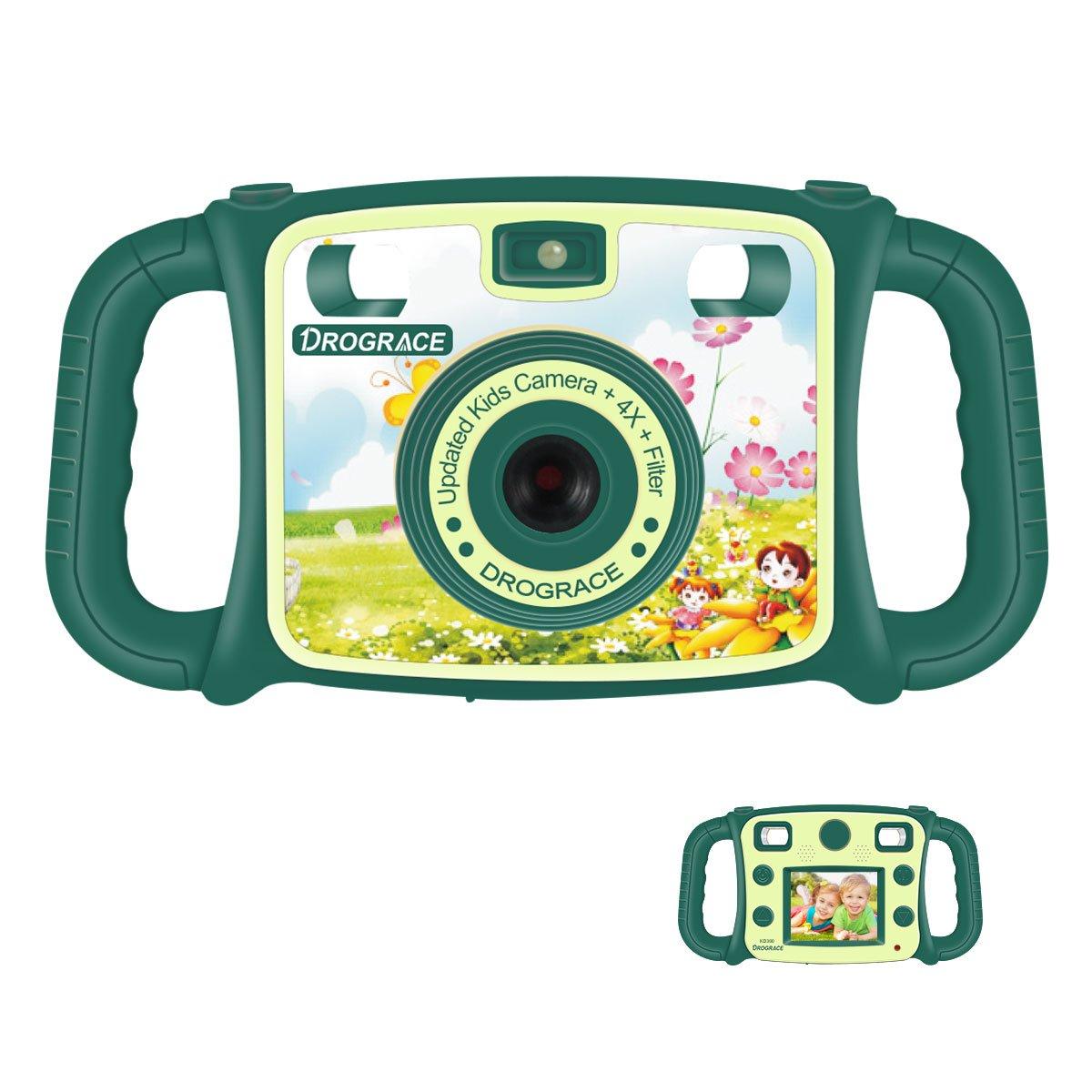 DROGRACE Kinderkamera 1080P HD Digital Videokamera mit 4X Zoom, Blitz, eingebautem Mikrofon Lautsprecher, 2-Zoll-Bildschirm, Drop-Resistente Griffe und Spiel für Jungen Mädchen Geburtstag Weihnachtsgeschenk - Grün (EU Stock)