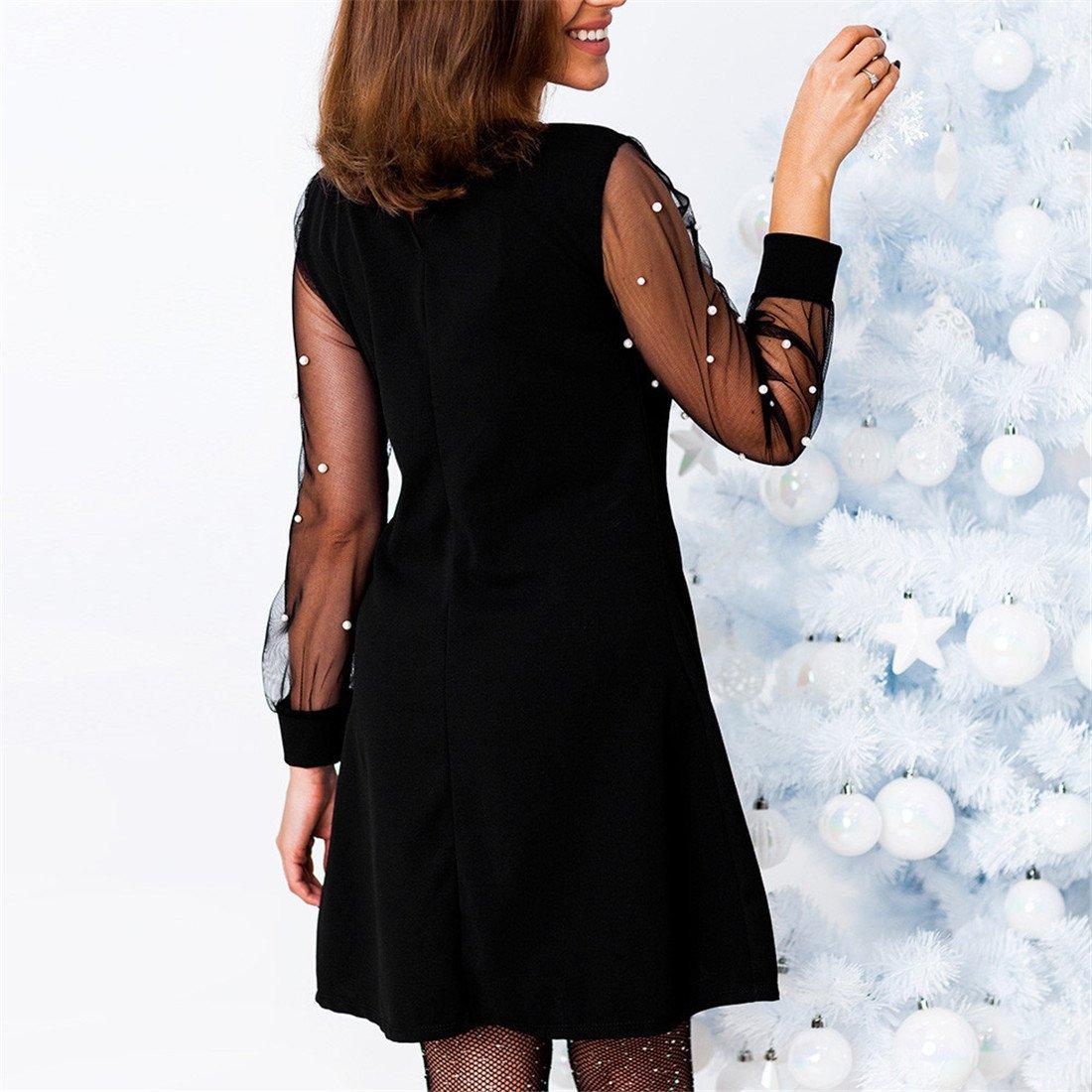 Womens Dresses,Moonuy Girl Long Sleeve Beading Mesh Perspective Mini Evening Party Dress Clubwear Elegant Loose Playsuit Jumpsuits Beach Dress For Ladies ...