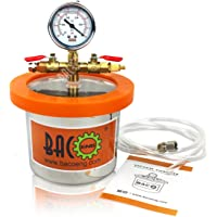 BACOENG 2L Stainless Steel Vacuum Chamber for Degassing Urethanes, Resins, Silicones and Epoxies 16cm(H) x 11cm(OD)