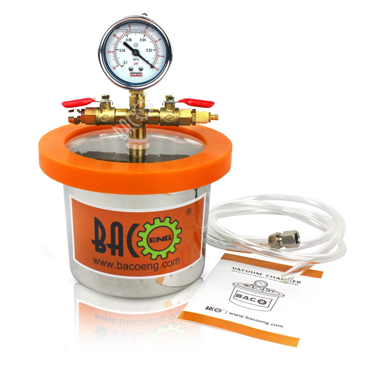 BACOENG 2 Quart Vacuum Chamber Kit with 3.6 CFM 1 Stage Vacuum Pump HVAC by BACOENG (Image #2)