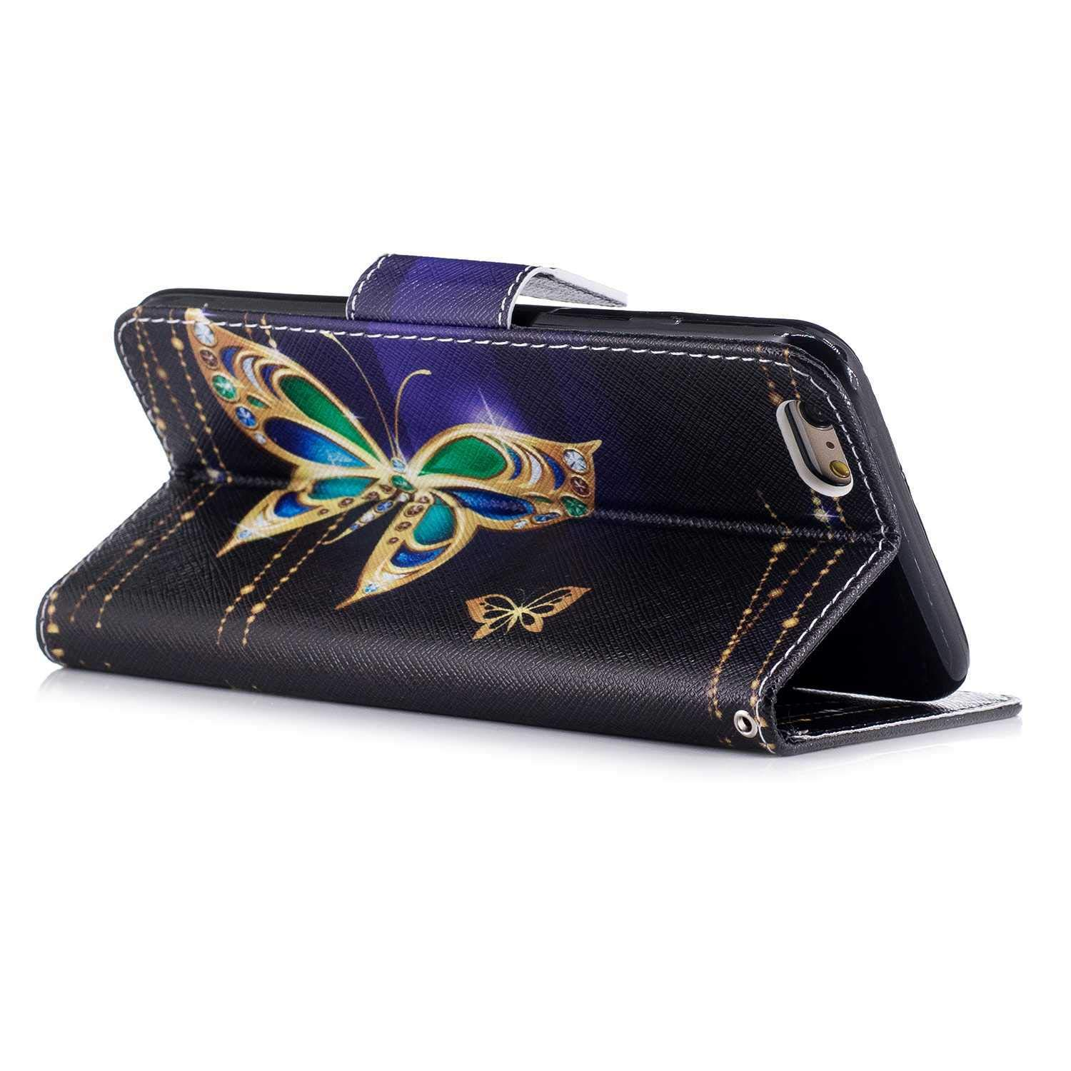 CAXPRO iPhone 6 Plus // 6s Plus Case Premium PU Leather Protective Cover Wallet Case for Apple iPhone 6 Plus // 6s Plus with ID Credit Card Slot Lotus Magnetic Closure