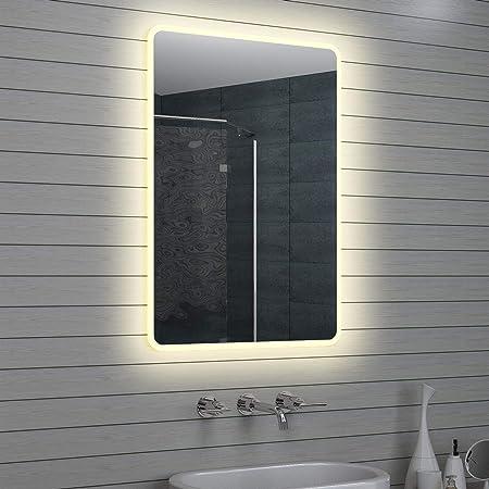 Lux-aqua Design Miroir Mural Miroir Lumineux à LED pour Salle de Bain 100 x  70 cm