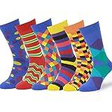 Easton Marlowe Mens 6 Pk Colorful Patterned Dress Socks, European Made