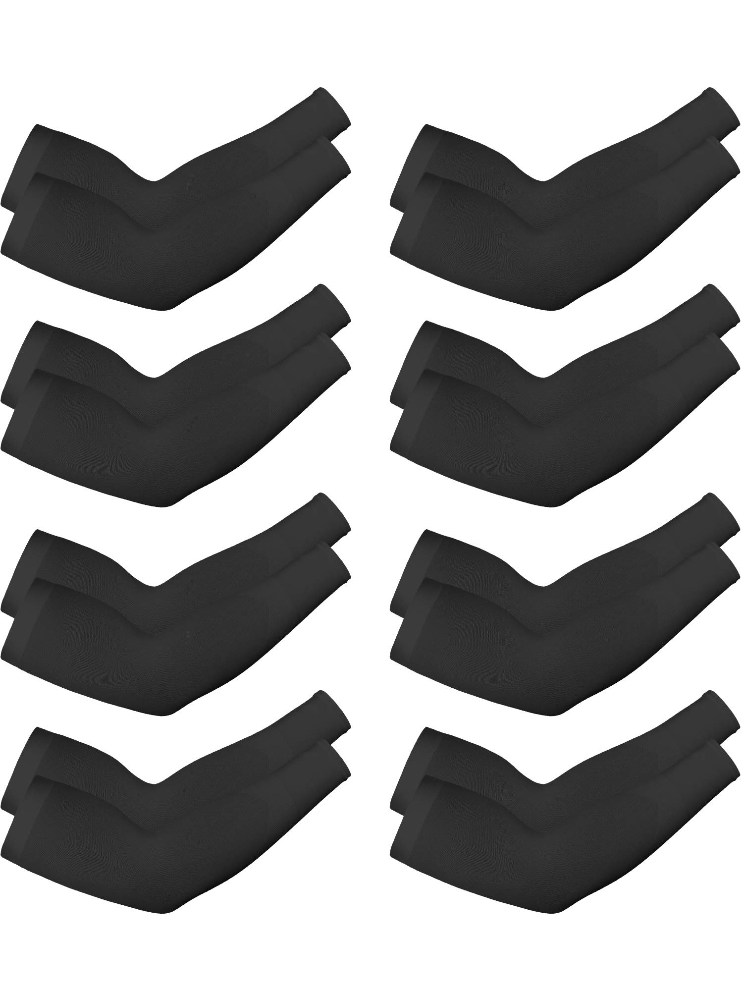 Boao 8 Pairs Unisex Arm Sleeves UV Sun Protection Cooling Sleeves for Driving Jogging Golfing Riding Outdoor Activities (Black, Style 2)