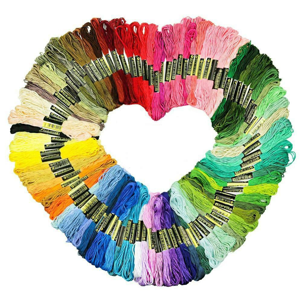 Embroidery Floss Thread Rainbow Color Cross Stitch Threads Friendship Bracelet String DIY Handmade Craft Premium Multi-Colored Floss (100) TOMLFF
