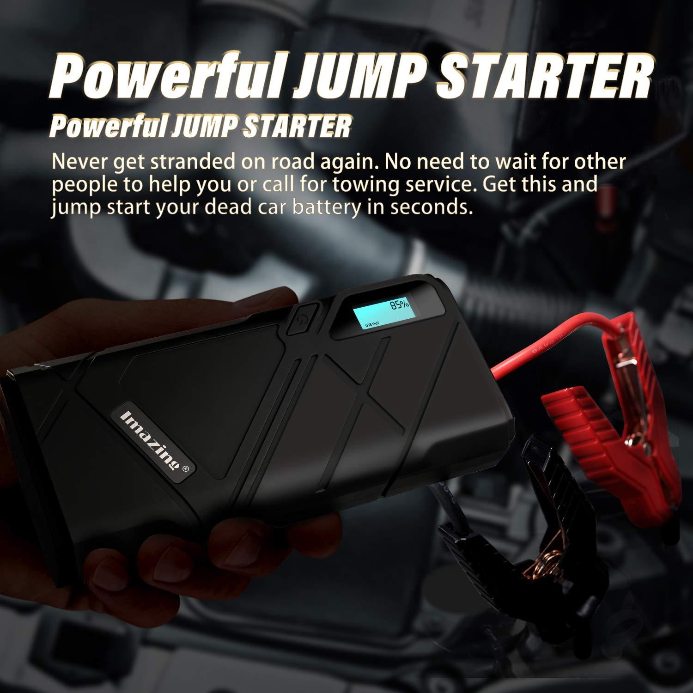 D/émarrage de Voiture Imazing Booster Batterie,1500A 12000mAh Portable Jump Starter Jusqu/'/à 8.0L Essence 6.0L Gazole Alimentation El/éctrique dUrgence pour Voiture avec Lamp LED