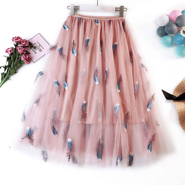 Faldas de Tul Bordado Mujeres Pluma Falda Plisada Rosa Dulce ...