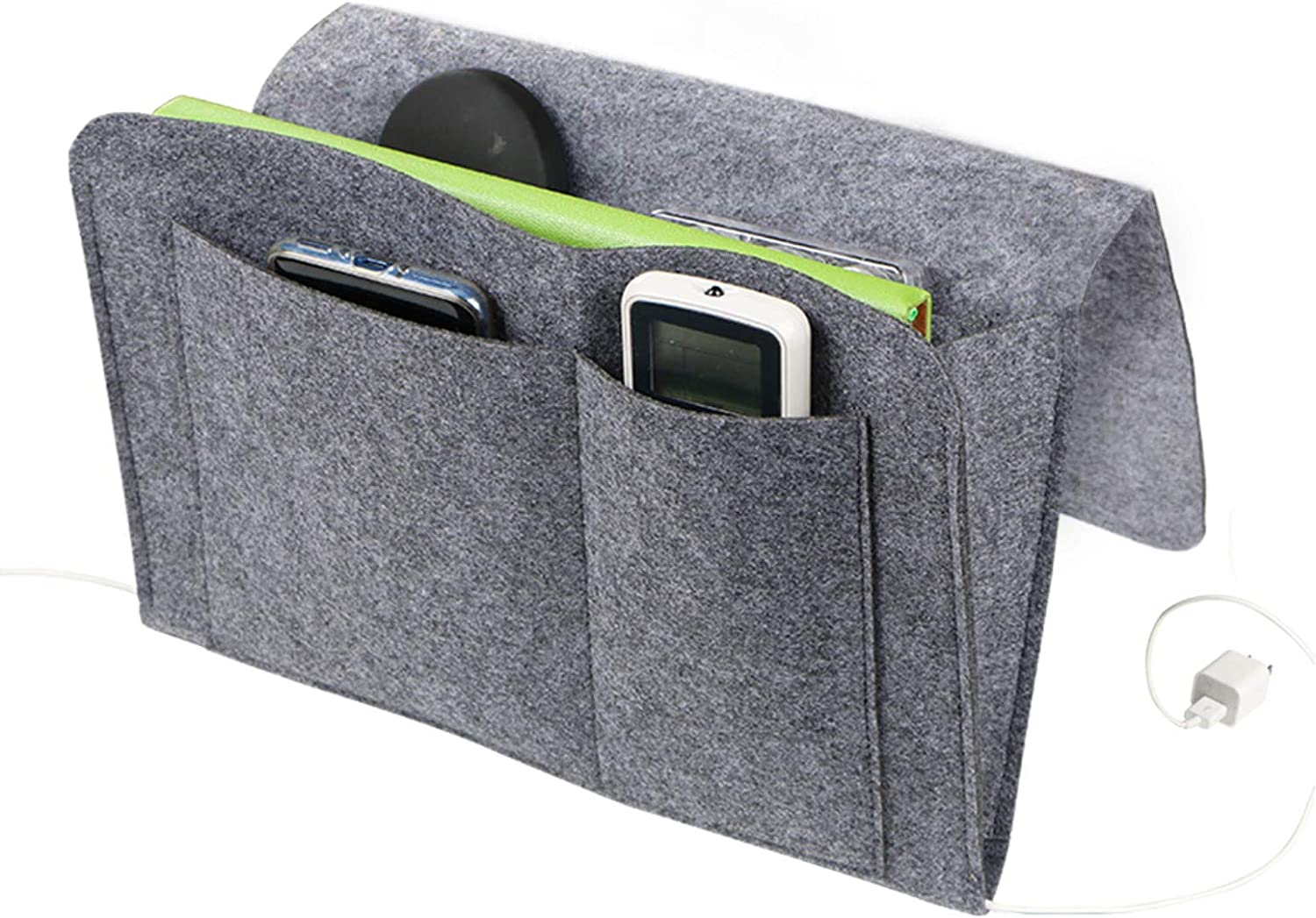 duduta Small Bedside Caddy Under Mattress with 5 Pockets, Hanging Organizer Holder for Dorm Bed Chair Pouch, Dark Grey