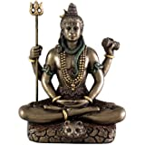 Top Collection Mini 3.25 Lord Shiva in Lotus Pose - Hindu God and Destroyer of Evil. Good Protection. Bronze Powder Mixed with Resin - Bronze Finish with Color Accents.