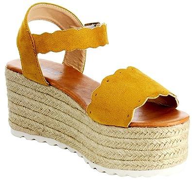 6ade7dea640 AMS Emma-23 Mary Jane Espadrille Platform Wedge Flatform Open Toe Sandal  Mustard 8.5