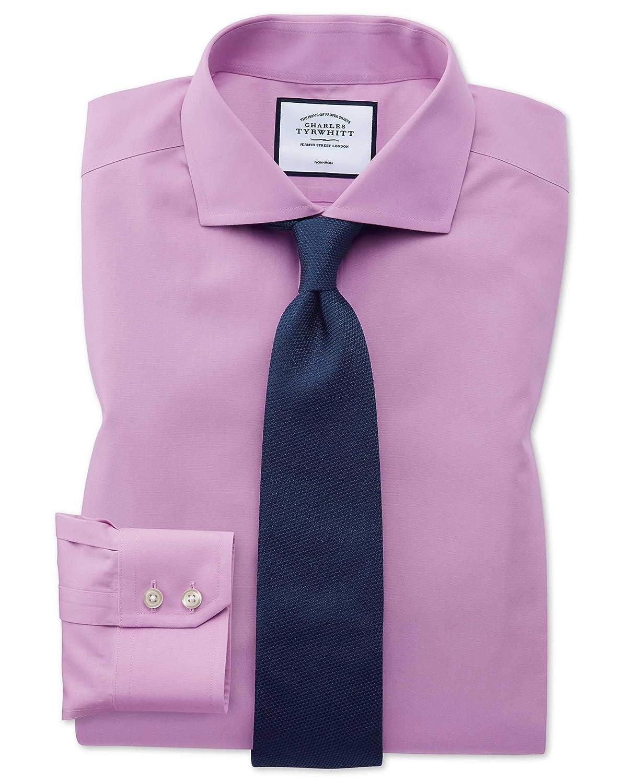 15   34 Chemise violette en popeline à col cutaway extra slim fit sans repassage