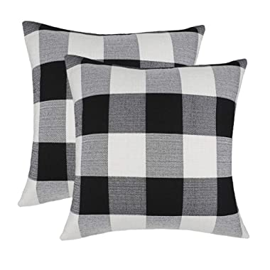 4TH Emotion 20 x 20 Inch Black and White Buffalo Check Plaids Throw Pillow Case Cushion Cover Retro Farmhouse Decoration for Couch Sofa Bed Set of 2