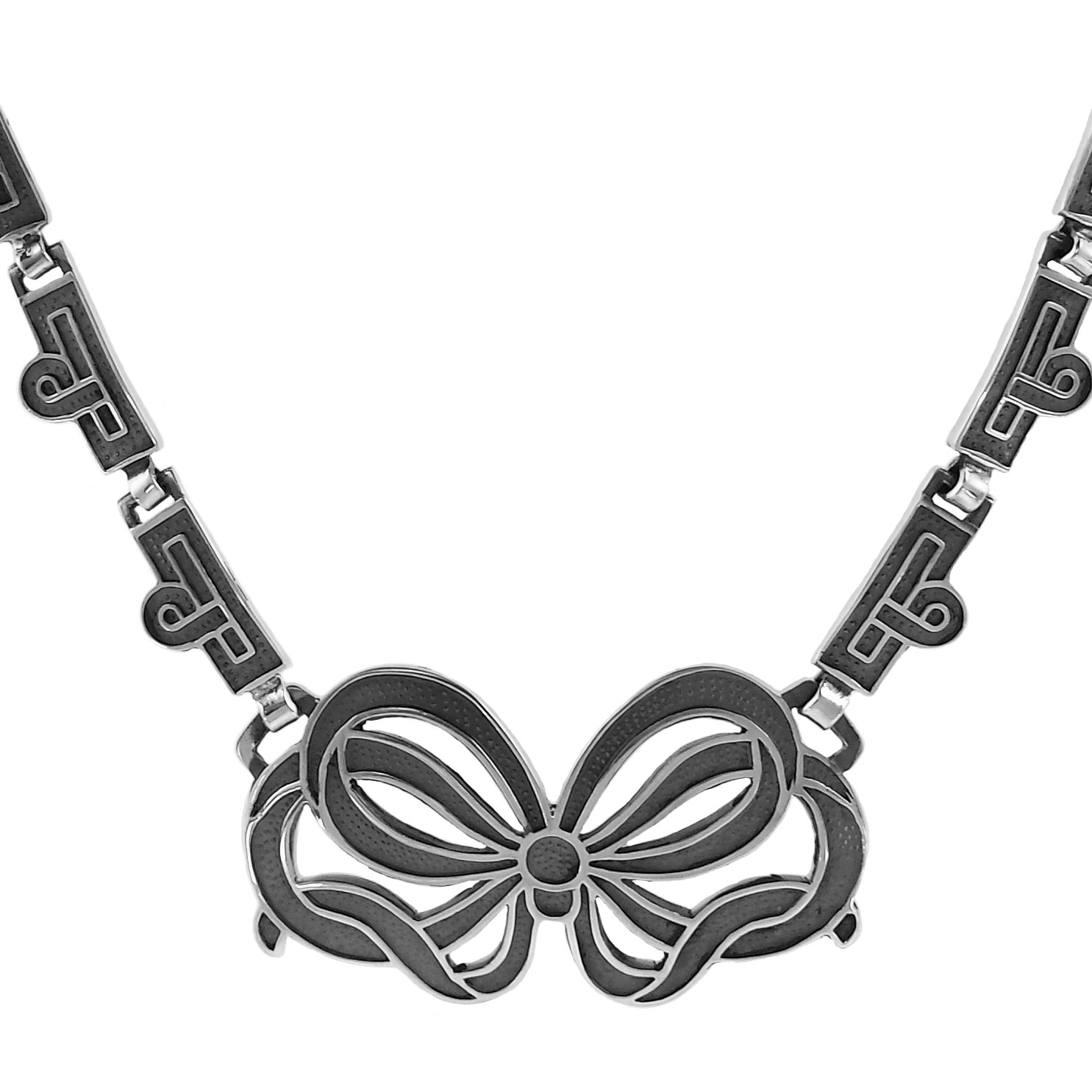 Sterling Silver Oxidized Deco Bow Pendant Necklace, 18 3/4''