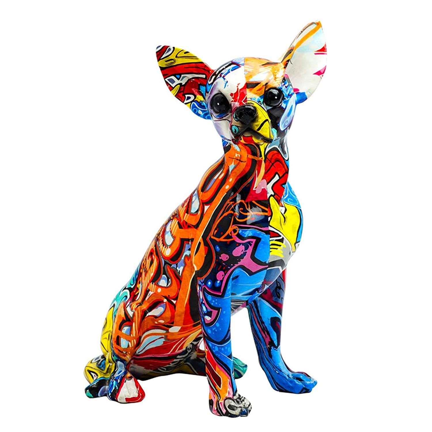 Graffiti Chihuahua Statue, MultiColor Dog Statue Innovative Resin Animal Ornament Chihuahua Puppy Figurine Resin Sculpture Garden Decor Simple Living Room Color Clothing Home Office Desktop Decoration