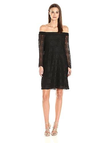 Donna Morgan Women's Black Lace Off the Shoulder Shift