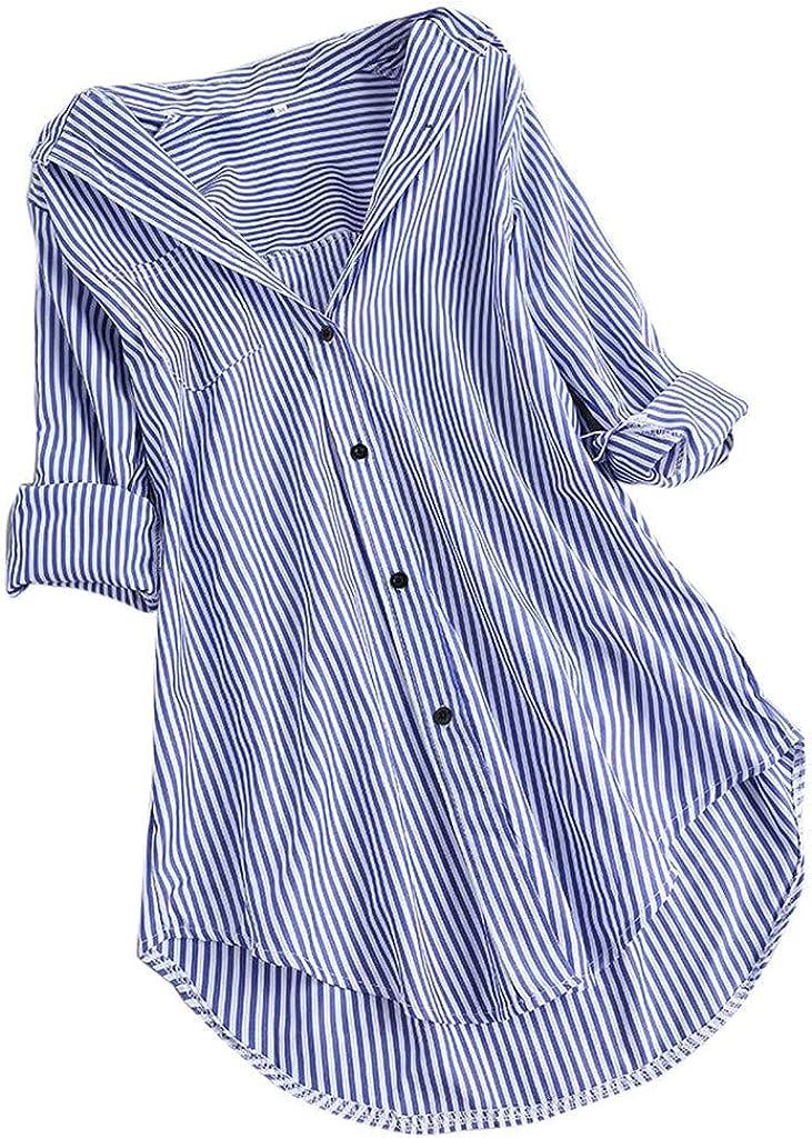 Camiseta de Manga Larga para Mujer con Estampado de Rayas y Cuello Alto Azul Celeste S: Amazon.es: Ropa y accesorios
