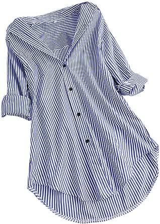 Camiseta de Manga Larga para Mujer con Estampado de Rayas y ...