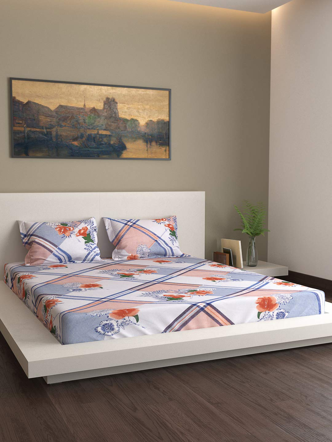 Country Home, 150 TC Cotton Double Bedsheet.