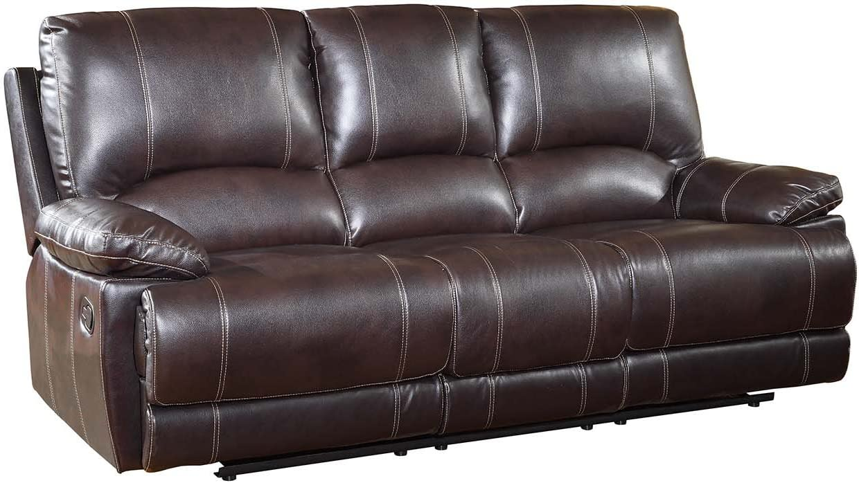 Blackjack Furniture The Brantley Collection Leather Sofa for the Living Room, Brown