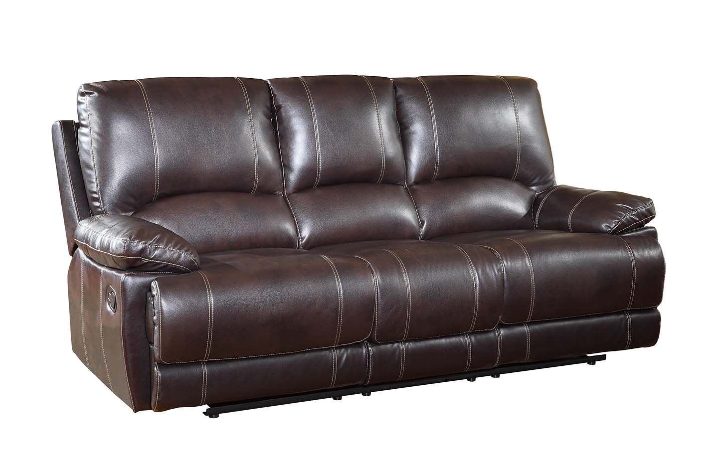 Blackjack Furniture 9345-BROWN-2PC-CON The Brantley Collection 2-Piece Reclining Living Room Leather Sofa Set W/Console Loveseat, Brown