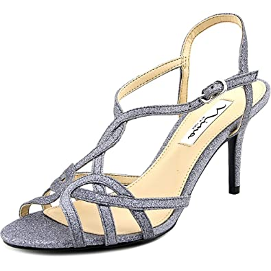Nina Womens Vencie Open Toe Ankle Strap Classic Pumps, Pewter, Size 8.5