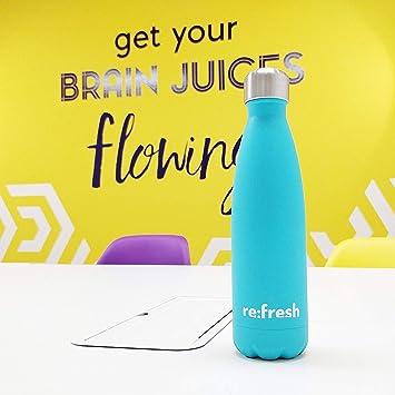 Botella de agua de metal Re:Fresh; botella de agua de acero inoxidable, con doble pared y termo (12 horas caliente y 24 horas fría), libre de BPA (500 ...