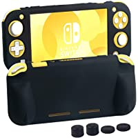 Case for Nintendo Switch Lite 2019,Silicone Protective Cover Skin Stand and 4 Thumb Grip Caps for Switch Lite-Black