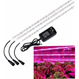 Grow Light, SOLMORE 3Pcs 1.6ft/strip LED Plant Light Flexible Soft Grow Light Strip with 2A Power Adapter for Office Home Greenhouse Hydroponics Indoor Plant Flower Seeds Growth (2017 Upgraded)