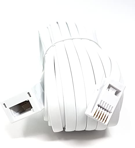 Available in 2m, 3m, 5m, 10m, 15m, 20m 631a 3m MainCore 3m long White BT Telephone Extension Cable Lead For Office /& Home 6 Wire BT Male to BT Female