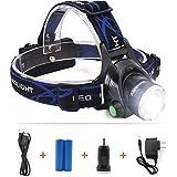 TecBillion 超強力ヘッドライト 防水仕様 LEDヘルプライト 充電用ケーブル・ACアダプタ・電池付属 キャンプ/サイクリング/ハイキングなどのアウトドア活動に適用