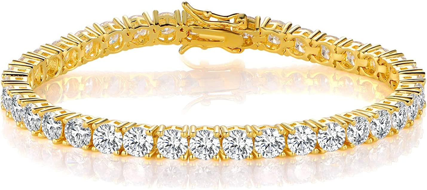 GMESME 18K Yellow Gold Plated 5.0 Round Cubic Zirconia Classic Tennis Bracelet 7.5 Inch