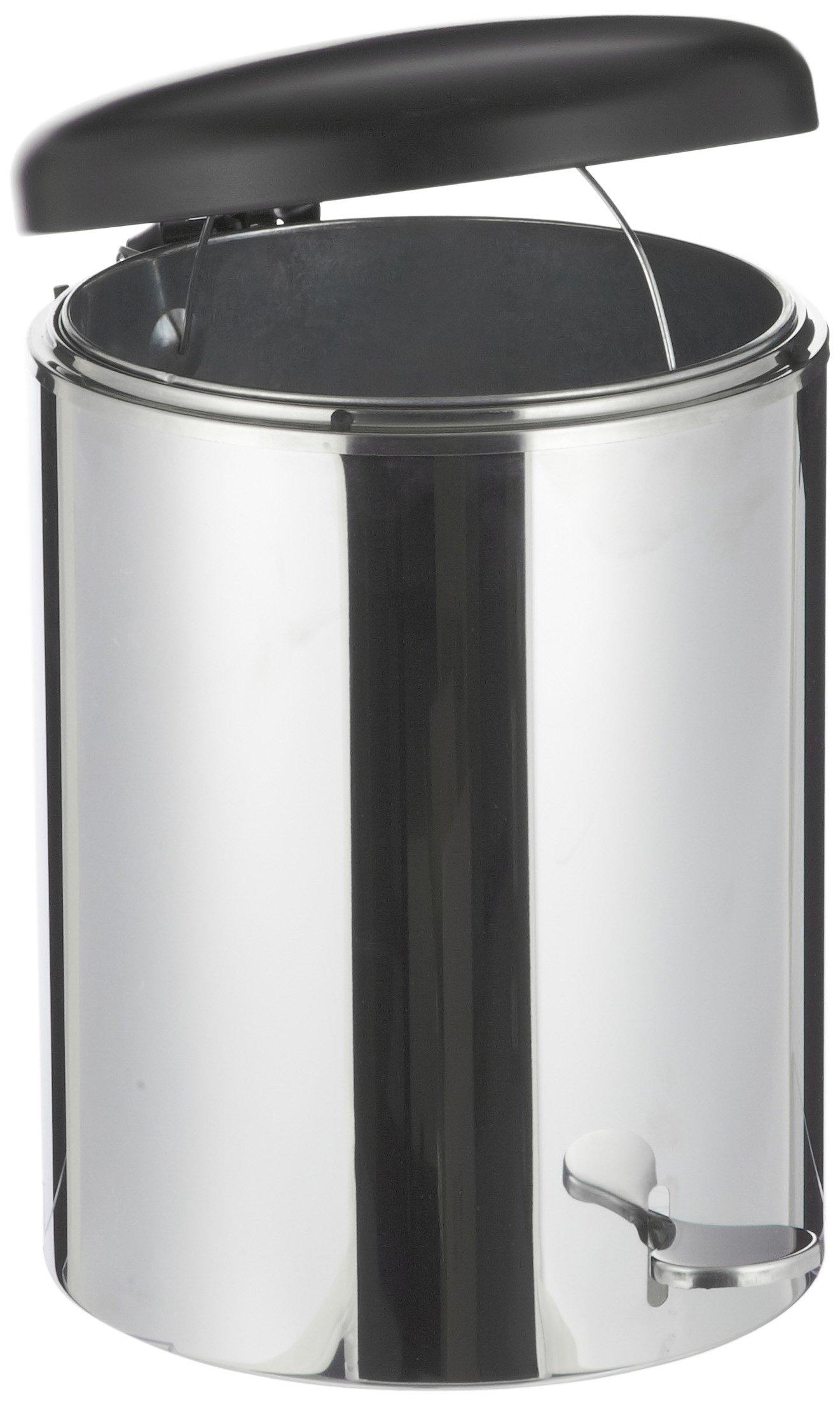 WITT 2240SS Stainless Steel Step On Metal Biohazard Waste Container, 4gal Capacity, 11-1/2'' Diameter x 16'' Height,