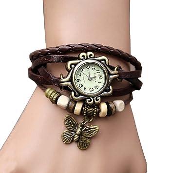 aohang Original Mujer Vintage Relojes, pulsera mariposa colgante, color café