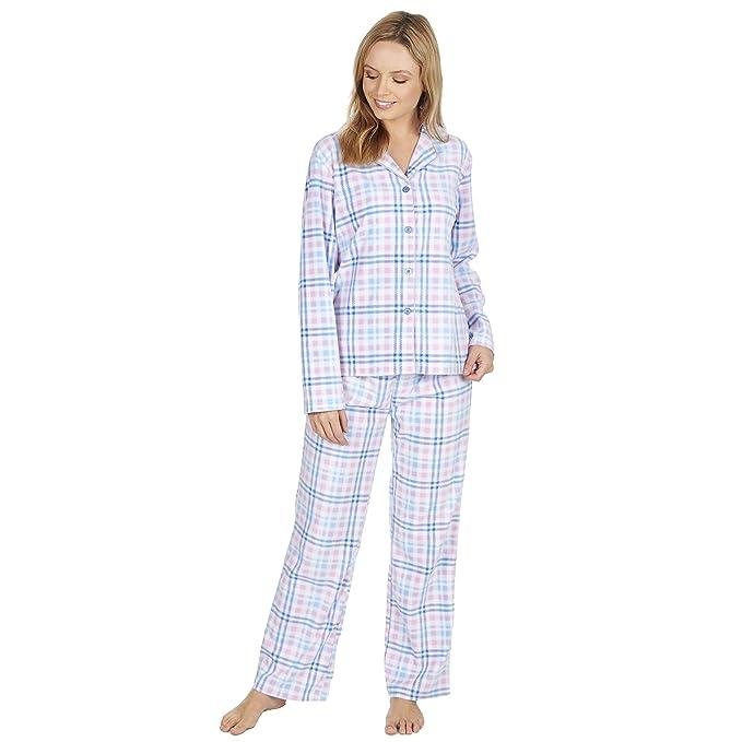 Mujer Estampado a Cuadros Manga Larga Pijamas De Forro Polar Térmico Ropa de descanso: Amazon.es: Ropa y accesorios