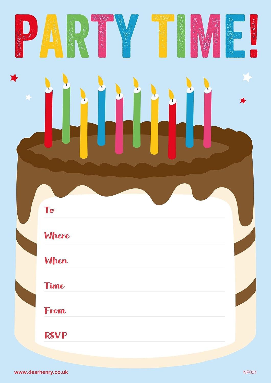 Birthday Cake Party Invites 20 A5 sheets Dear Henry