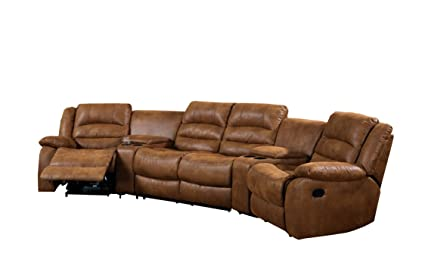 Pleasant Furniture Of America Camden 4 Piece Sectional Sofa With Recliners And Built In Drink Holders Caramel Gmtry Best Dining Table And Chair Ideas Images Gmtryco