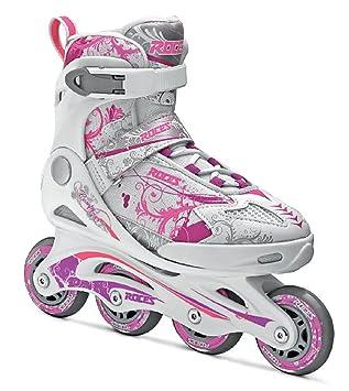 Roces Compy 7.0 Girl - Patines en línea para niña, color blanco / violeta / rosa, talla 30-33: Amazon.es: Deportes y aire libre