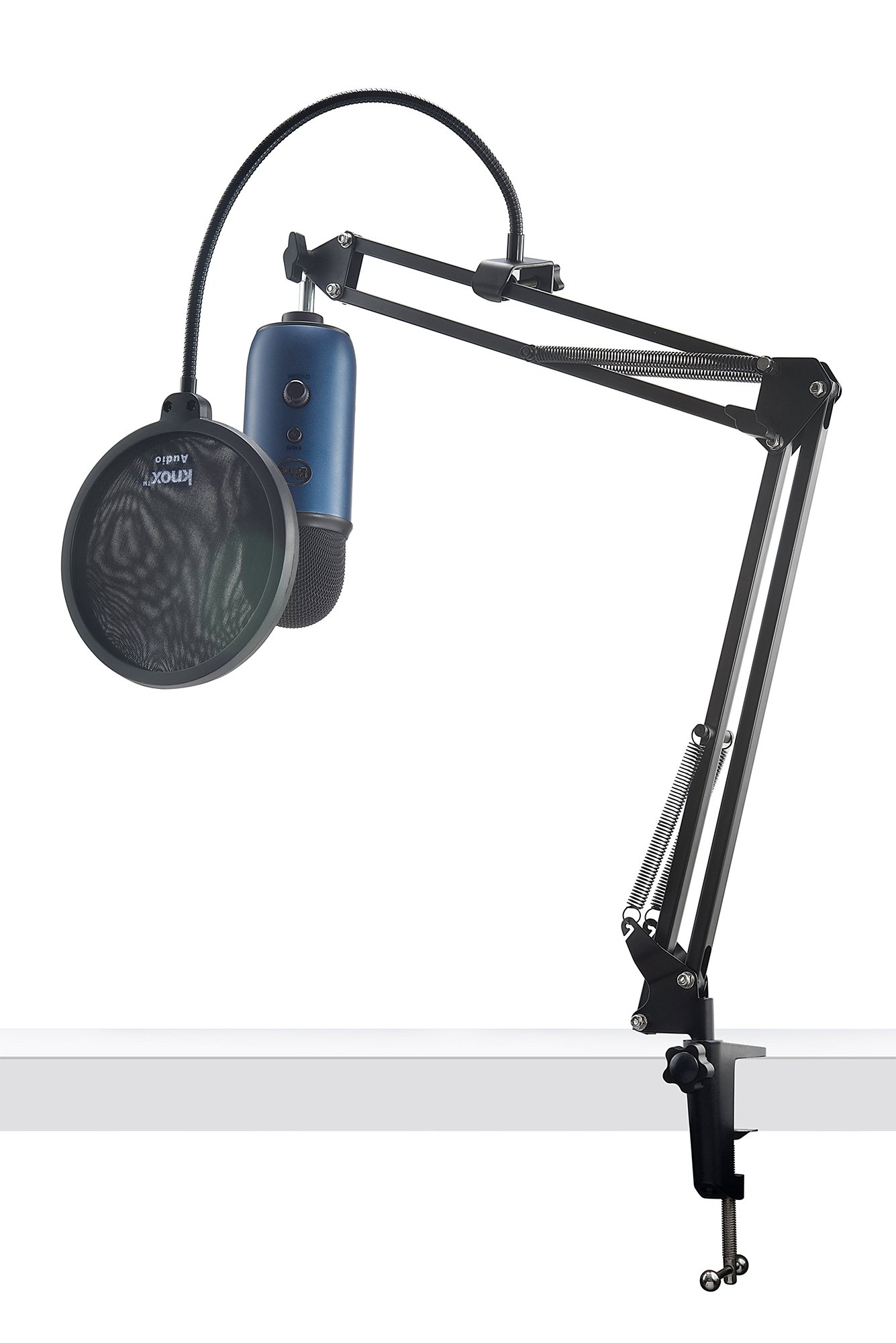 Blue Microphones Midnight Blue YETI Mic w Knox Boom Arm Stand, and Pop Filter