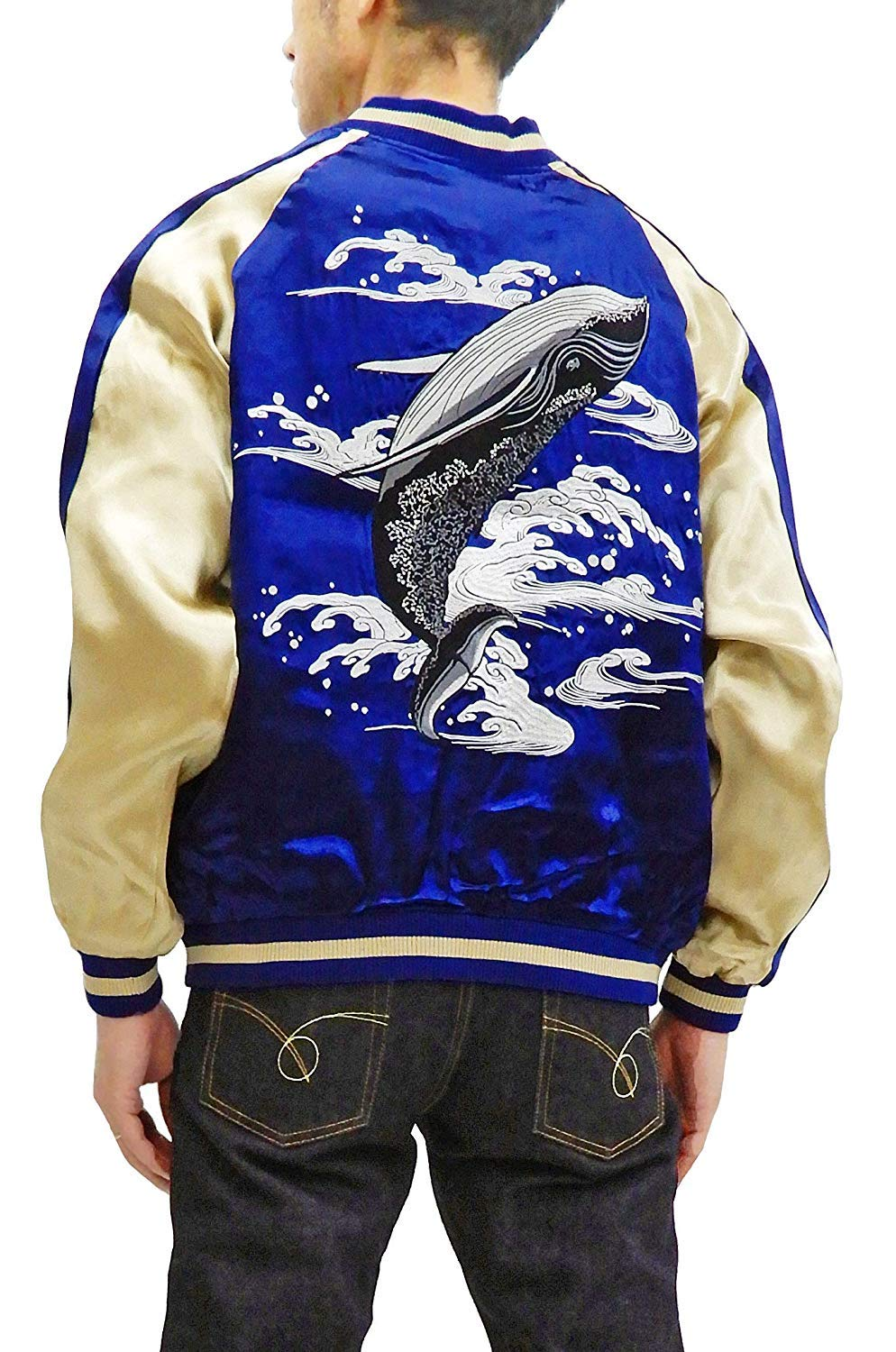 Japanesque Men's Slim Fit Japanese Souvenir Jacket Whale Breach Sukajan 3RSJ-041 Navy Tagged Japan XL (US M) by Japanesque