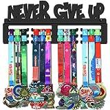 GENOVESE Never Give Up Medal Holder Display Hanger Rack Frame,Super Sturdy Black Steel Metal, Wall Mounted Sports Medals