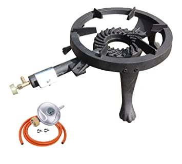 NJ® GB-24 - Anillo de gas de hierro fundido grande 8 kW quemador cocina LPG estufa exterior catering + regulador de butano: Amazon.es: Jardín
